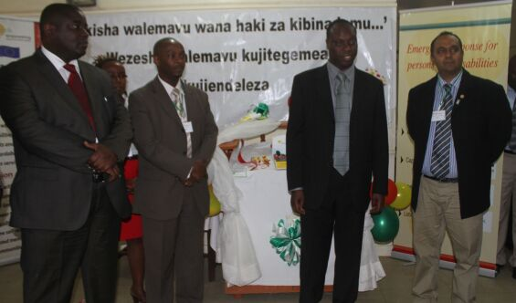 Walter Odhiambo APDK CEO, Jack Muthui CBM kenya Country Coordinator, DR. Samuel Tororei (KNCHR) Ayal Anjit (KRC) during the launch of the baseline survey report