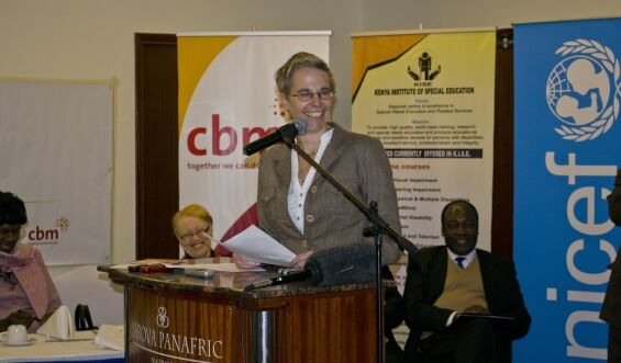 Kirstin Bostelmann, CBM Acting Regional Director, giving her remarks at the State of the World s Children 2013 report launch