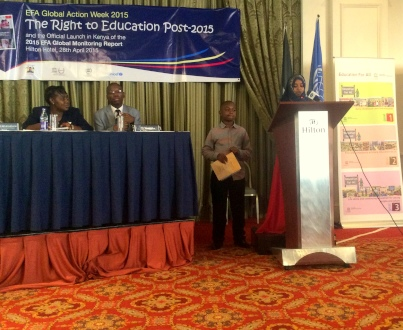 Halima Ismail, the Speaker of the Children's Parliament addresses guests at the 2015 EFA Report launch