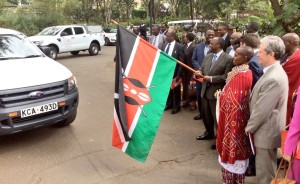 © CBM     The Ministry of Health Cabinet Secretary, James Macharia, flags off six programme vehicles as part of the official launch of the Kenya Trachoma Elimination Programme